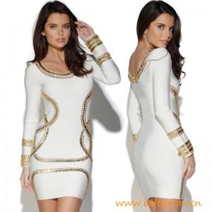 Top Quality Kim Kardashian Longsleeve Embellished Dress