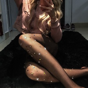 Top Quality Sexy Woman Lingerie Black Shiny Diamonds Fishnet Stockings