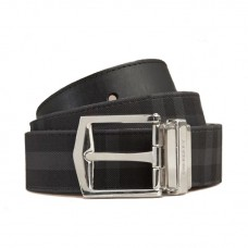 Top Quality Reversible Horseferry Check and Leather Belt Charcoal Black