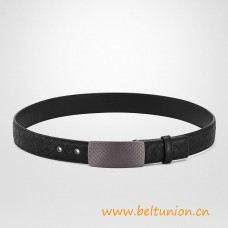 Top Quality NERO Intrecciato Calf Belt Signature Engraved Buckle