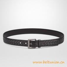 Top Quality Versatile Intrecciato Belt with Sleek Brunito Metal Buckle