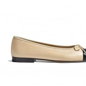 Original Design Beige & Black Lambskin Shoes for Women