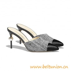 Autentic Quality Mules Fabric Goatskin Black Leather 85mm Heel