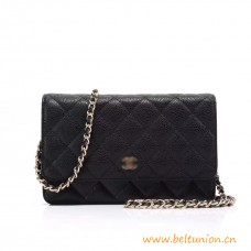 Top Quality Classic Clutch Grained Calfskin Wallet on Chain