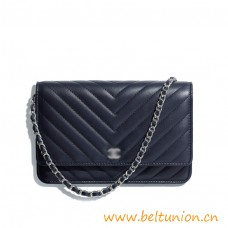 Top Quality Classic Black Lamb Skin Wallet on Chain