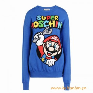 Top Quality Super Mario Embroidered Knit Blue Sweater