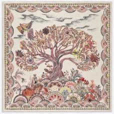 Top Quality Tree of Life Print Square Silk Scarf