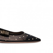 Top Quality Sling-back Ballet Pump in Gold-tone Dotted Swiss