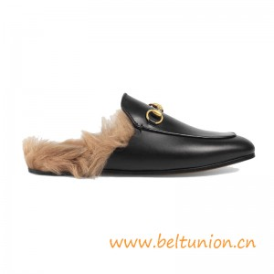 Top Quality Women's Princetown Leather Slipper Trimmed with Lamb Fur