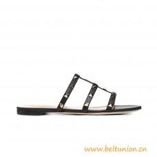 Top Quality Garavani Rockstud Calfskin Slide Sandal