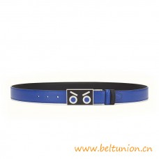 Top Quality Belt in Electric Blue and Black Calfskin Leather