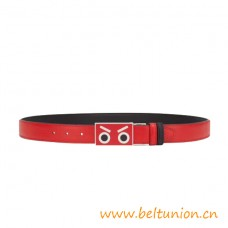Top Quality Faces Belt in Red and Black Calfskin Leather
