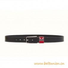 Top Quality Belt in Black Smooth Calfskin with Engraved Enamel Loop