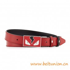 Top Quality Monster Eyes Reversible Leather Belt Red