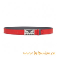 Top Quality Reversible Belt in Red Elite Leather Smooth Black Leather