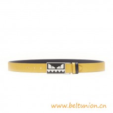 Top Quality Reversible Belt in Yellow Elite Leather Smooth Black Leather