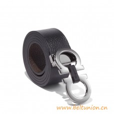 Top Quality Reversible and Adjustable Belt in Pebbled Calfskin