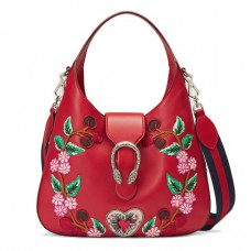 Top Quality Smooth Leather Hobo Bag with Embroidered Flowers