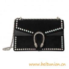 Top Quality Dionysus Small Crystal Shoulder Bag Black Suede