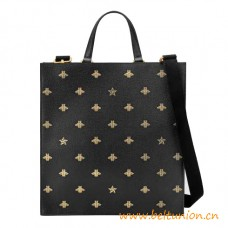 Top Quality Black Leather with Gold Bees and Stars Print Tote