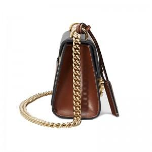 Top Quality Padlock Small Shoulder Black Leather Bag