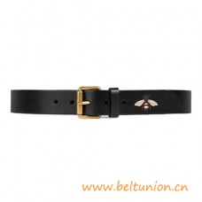 Top Quality Bee Print Black Leather Belt Square Buckle