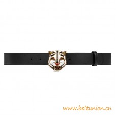 Top Quality Black Leather Belt with Feline Head Gold-toned Hardware