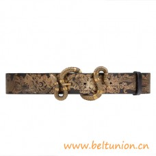 Top Quality Printed Leather Belt with Snake Buckle