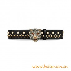 Top Quality Studded Belt with Crystal Fline Head Black Leather