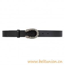Top Quality Smooth Leather Belt with Crystal Dionysus Buckle