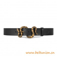 Top Quality Black Leather Belt with Snake Buckle