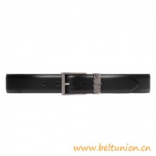 Top Quality Leather Belt with Snake Features a Classic Squared Buckle