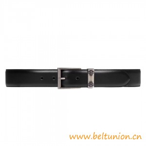 Top Quality Leather Belt with Bees Features a Classic Squared Buckle