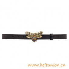 Top Quality Queen Margaret Black Leather Belt with Gold-toned Hardware