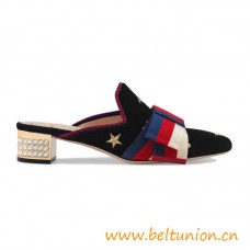 Top Quality Embroidered Velvet Slide with Sylvie Bow Black