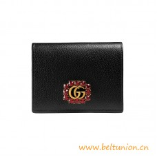 Top Quality Black Leather Card Case with Red Crystals