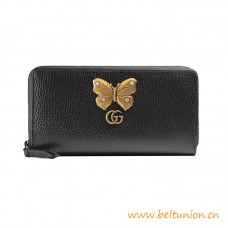 Top Leather Zip Around Wallet Metal Butterfly Stud with Crystals