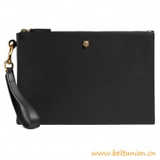 Top Quality Animalier Black Leather Pouch Removable Wrist Strap
