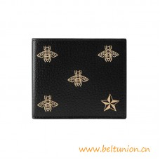 Top Quality Gold Bee Star Leather Bi-fold Wallet