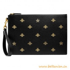 Top Quality Black Leather with Gold Bees and Stars Print Pouch