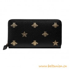 Top Quality Bee Star Black Leather Zip Around Wallet