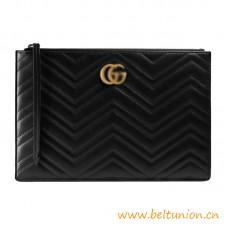 Top Quality Black Matelassé Chevron Leather Pouch