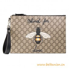 Top Quality Bee Print Supreme Pouch Black Leather Trim