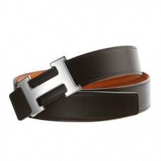 Original Design Reversible Belt Orange with Silver Polished H Buckle