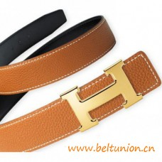 Top Quality Reversible Leather Belt with H Buckle No 18K Engraving