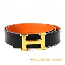 Original Design Reversible Belt Orange with Gold Polished H Buckle