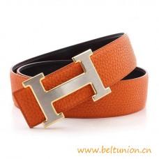 Original Design Reversible Belt Orange Silver H Buckle with Gold Edge
