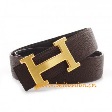 Original Design Reversible Belt Coffee with H Buckle Coffee Stitching