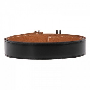 Original Quality Reversible Leather Belt with Au Carre Double Buckle