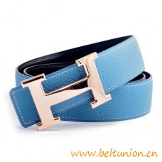 Original Design Reversible Belt Sky Blue with Polished Rose H Buckle